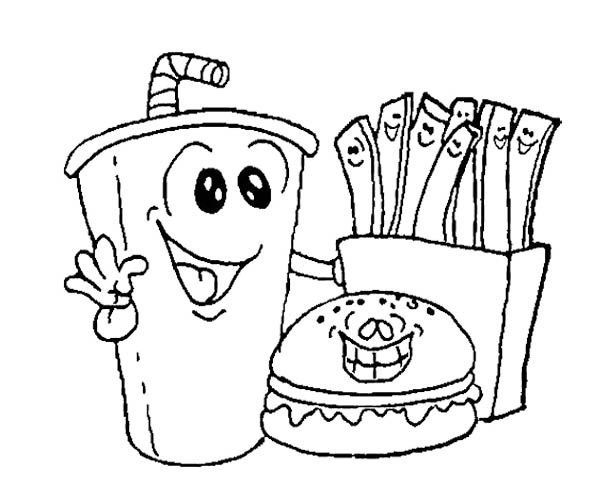 Printable Fast Food Burger With Drink Coloring Pages  Food Drink