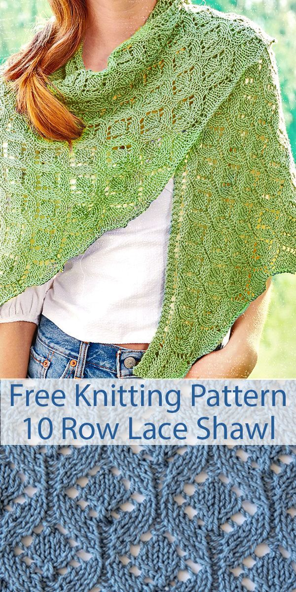 Photo of Free Knitting Pattern for 10 Row Repeat Pastoral Lace Shawl with Video Tutorial …