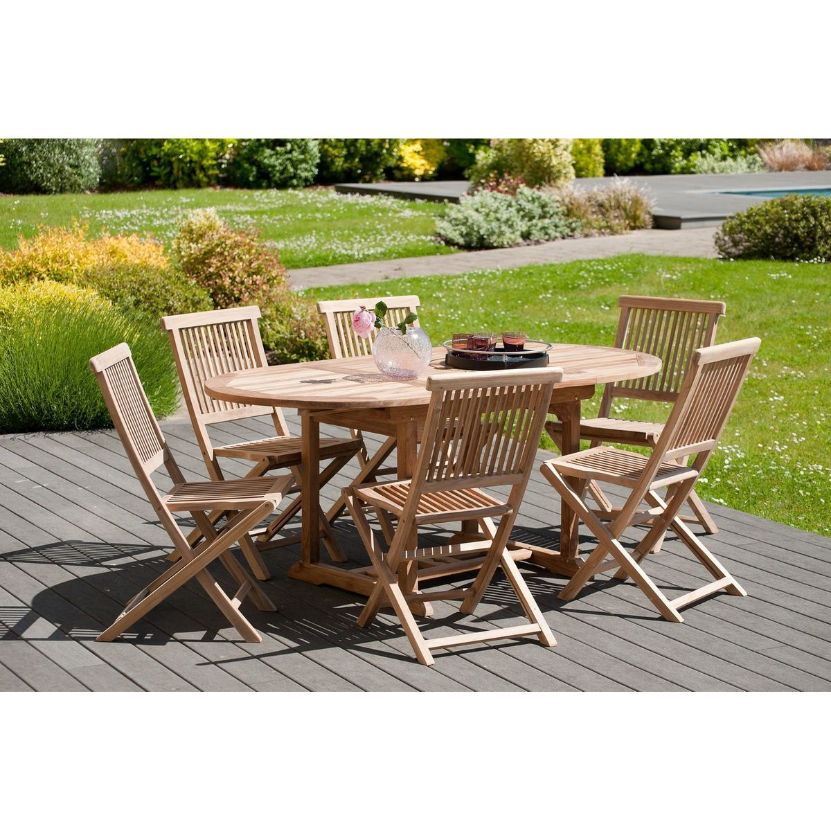 Salon De Jardin Table D Exterieur Extensible Ovale 120 180x90cm 6