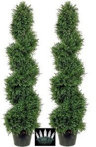 2 ROSEMARY TOPIARY TREE ARTIFICIAL OUTDOOR 3u0027 SPIRAL BUSH POOL PATIO PLANT  WITH CHRISTMAS LIGHTS