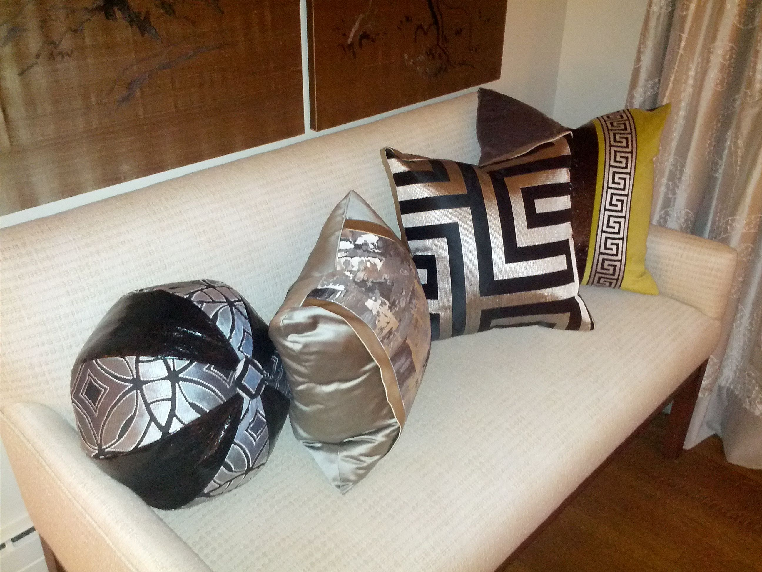 Assortment of decorative cushions made by custom cushions