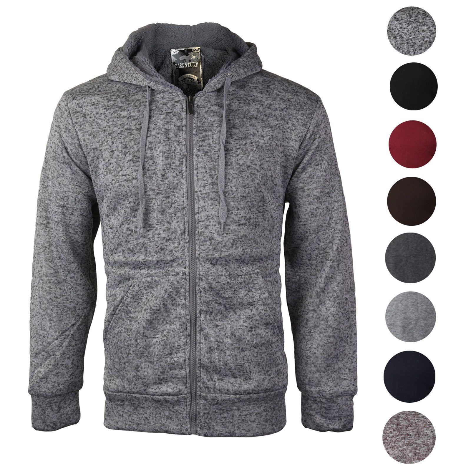 Mens Fleece Hoodie Hooded Jacket Sweatshirt Jumper Black Grey