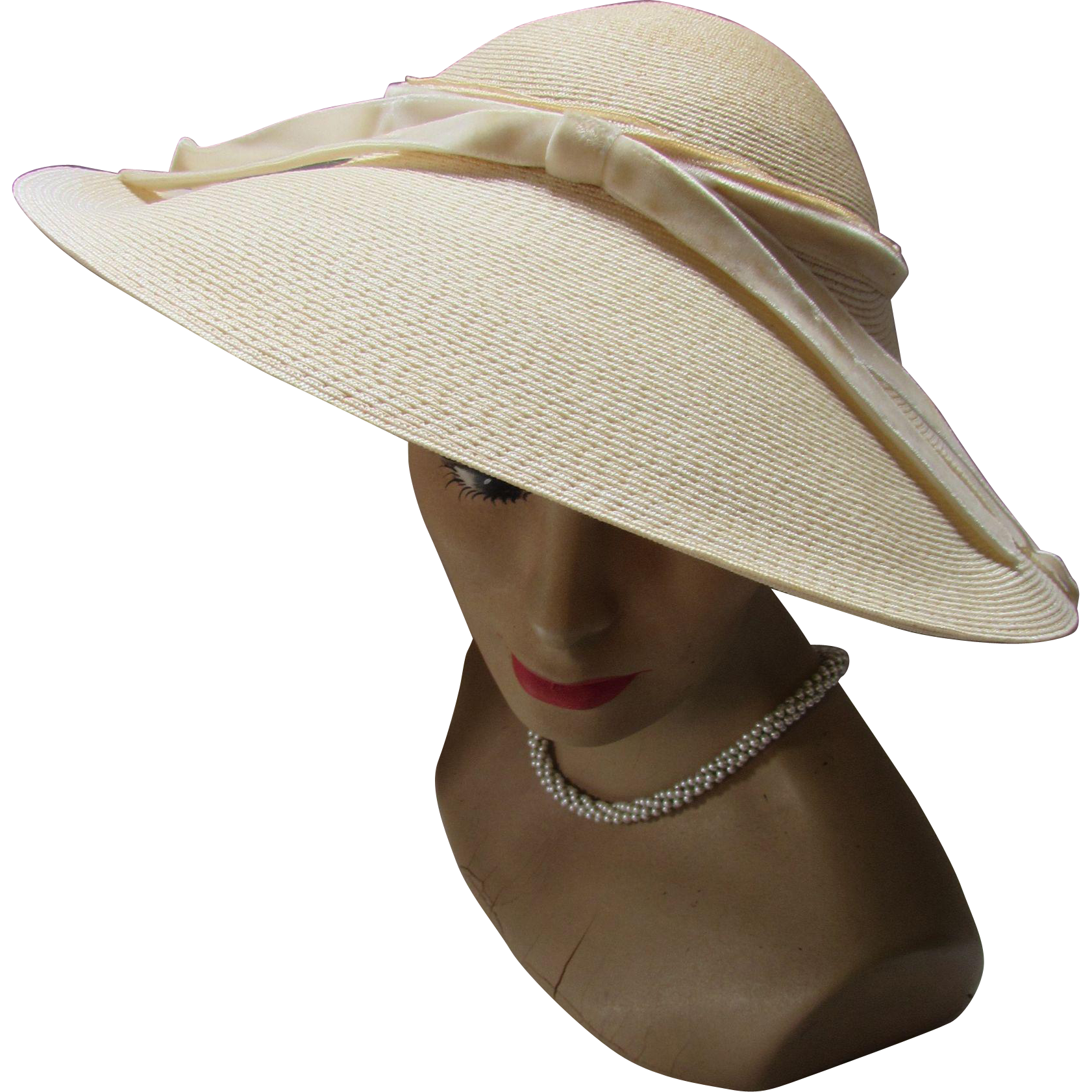 91044beea5b Linen Tone Straw Picture Hat with Wide Brim and Velvet Ribbon by Clemar  Original