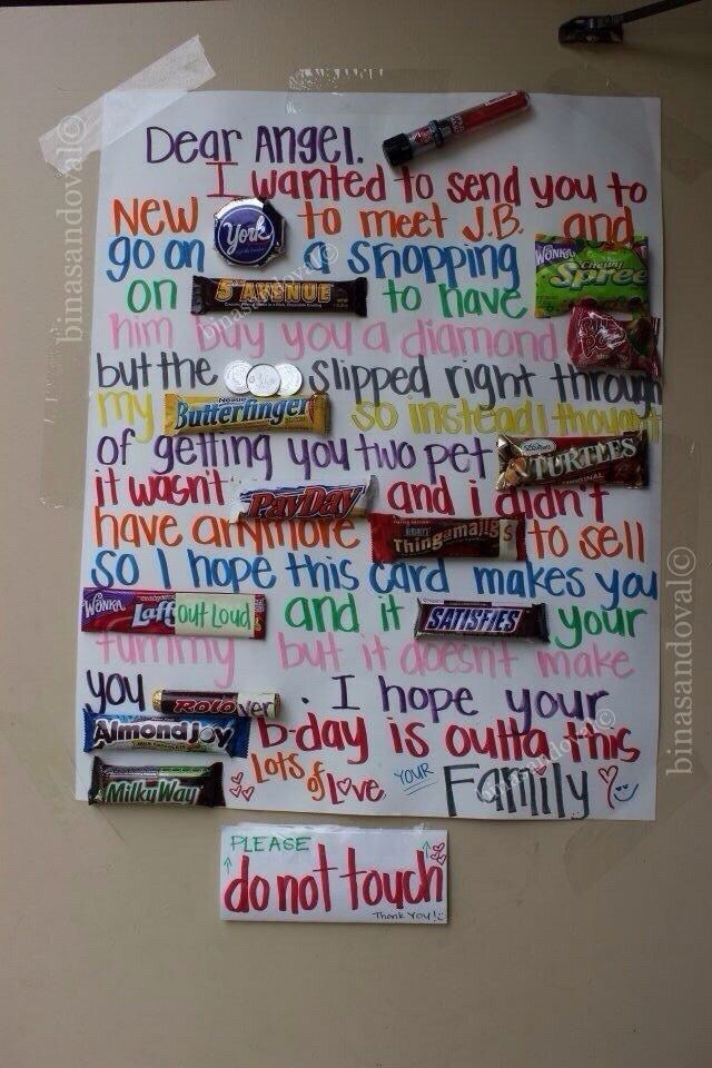 Birthday Candy Chocolate Bar Card Candy Poster Board Bar Card Chocolate Bar Card