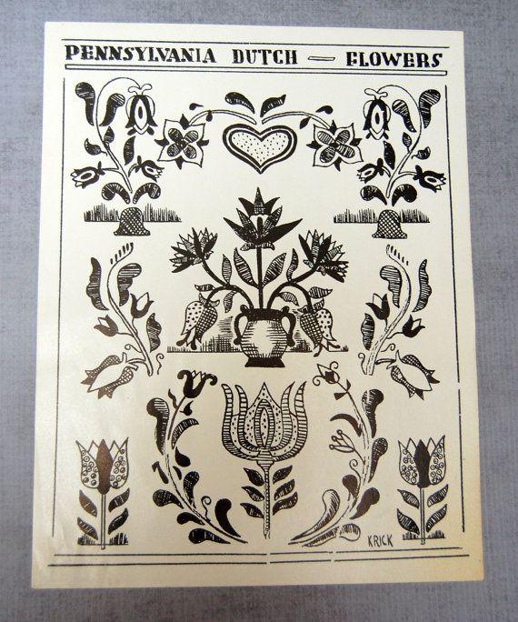 Pennsylvania Dutch Folk Art Example Flowers by VintagePaperology ...