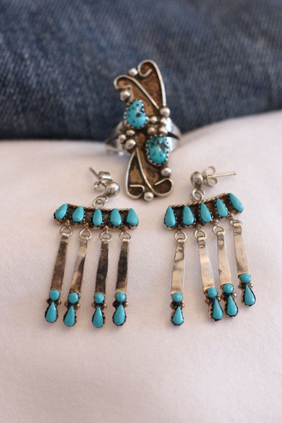 Zuni Petit Point Turquoise Dangle Post Earrings by gemforjoy