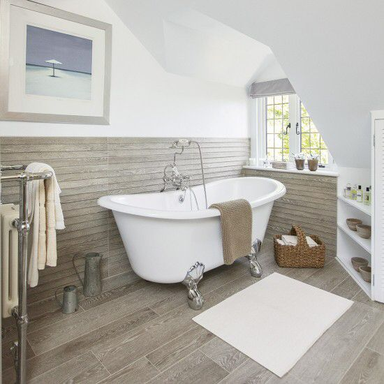 Like The Wood Effect Matching Floor And Wall Tiles Loft