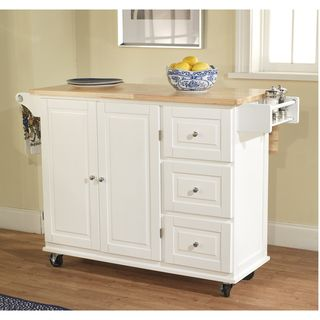 Simple Living Aspen 3-drawer Spice Rack Drop Leaf Kitchen Cart by ...