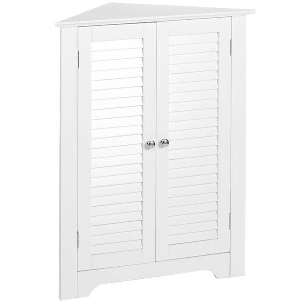 Riverridge Home Ellsworth 18 In L X 31 1 4 In H X 25 1 2 In H Freestanding Mdf 3 Shelf Corner Cabinet In White 06 074 The Home Depot Bathroom Standing Cabinet Free Standing Cabinets Corner Cabinet