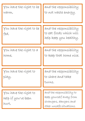rights and responsibilities pairs game | Rights and ...