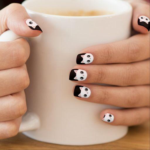 Cute White Kawaii Kitty Cat Minx® Nail Art - Cute White Kawaii Kitty Cat Minx® Nail Art Design Fingernail