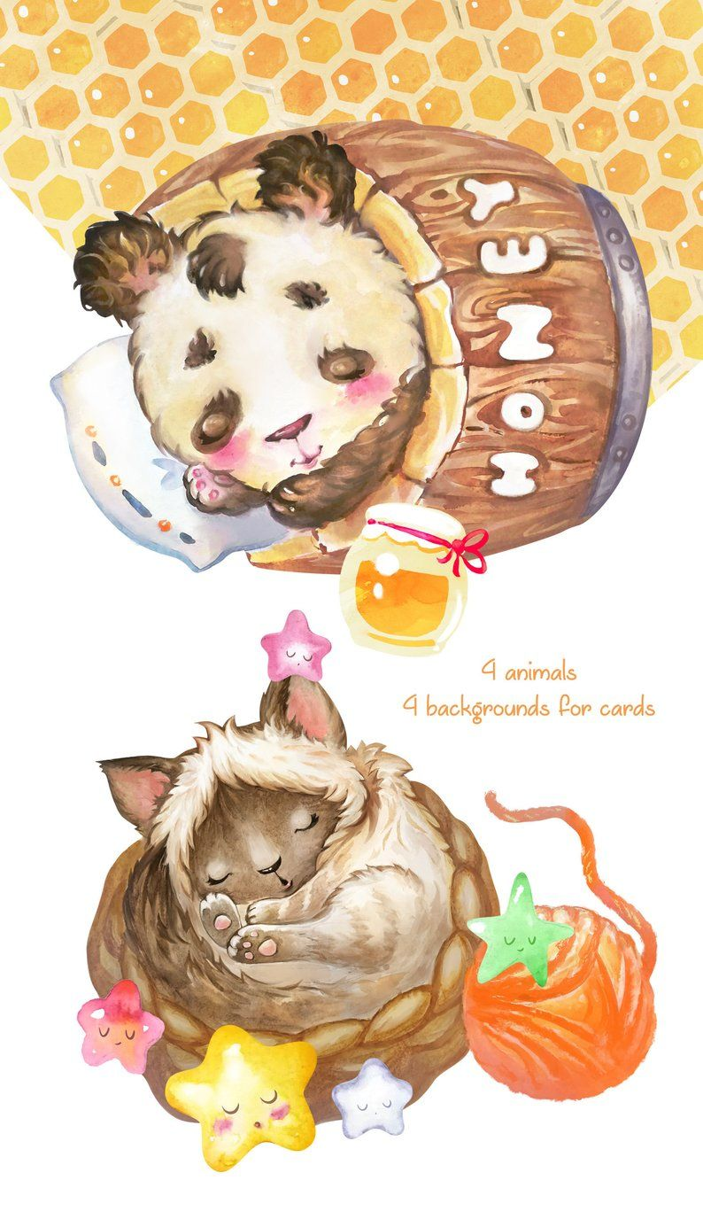 Sweet Lullaby Watercolor Clipart Cards And Pictures For Etsy Kids Clipart Watercolor Clipart Lullabies