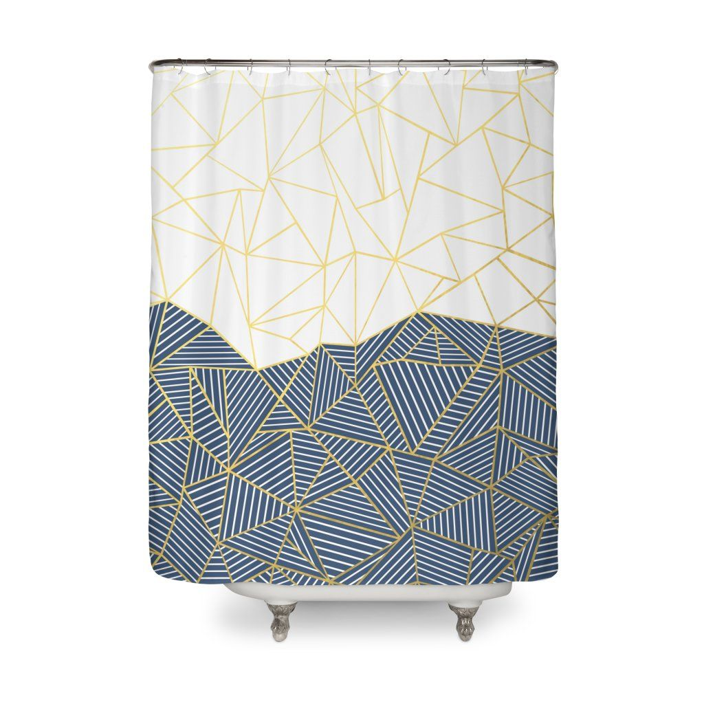 Ab Half And Half Navy Gold Gold Shower Curtain Beautiful Houses