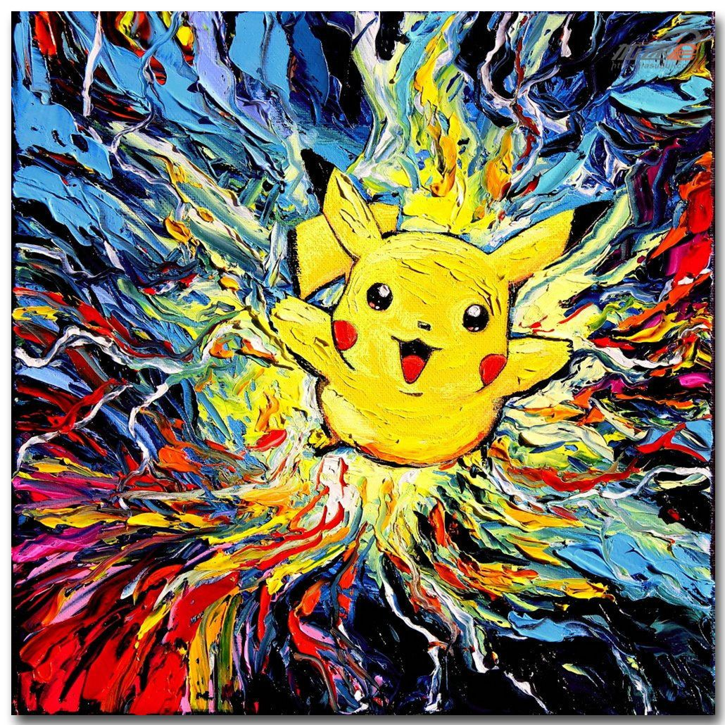 1119 pikachu pokemon anime art silk fabric poster