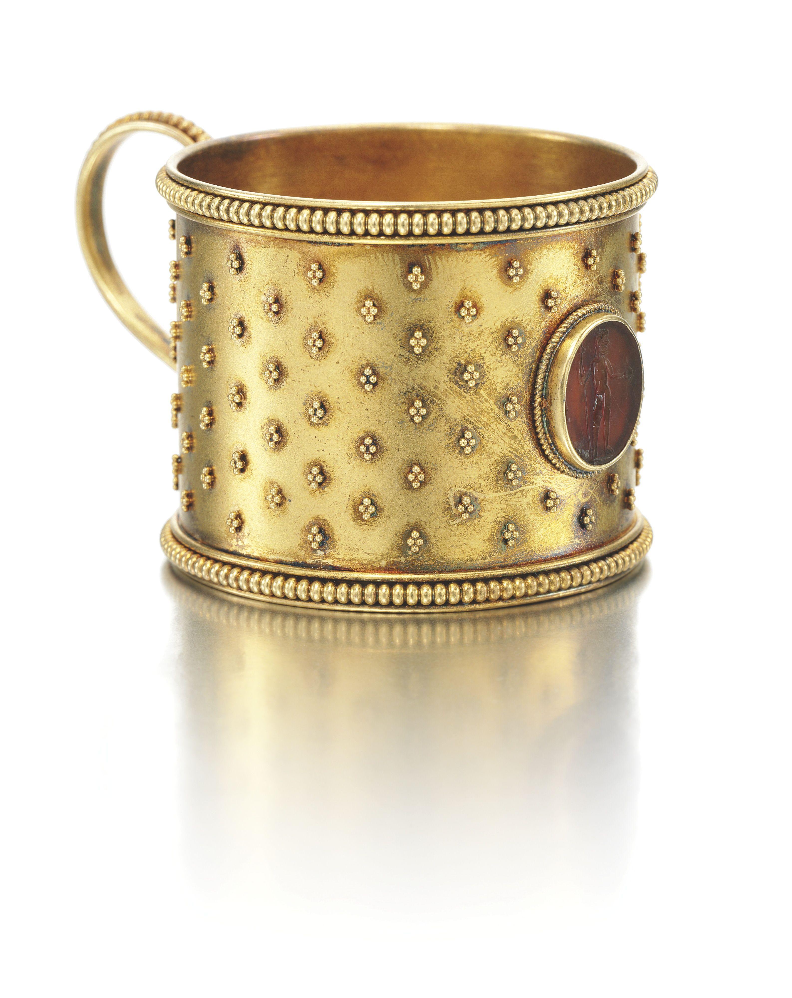 A Faberge Miniature Gold Tea Glass Holder Workmaster Erik Kollin St Petersburg Circa 1885 In Scythian Taste Cylindric Faberge Jewelry Glass Holders