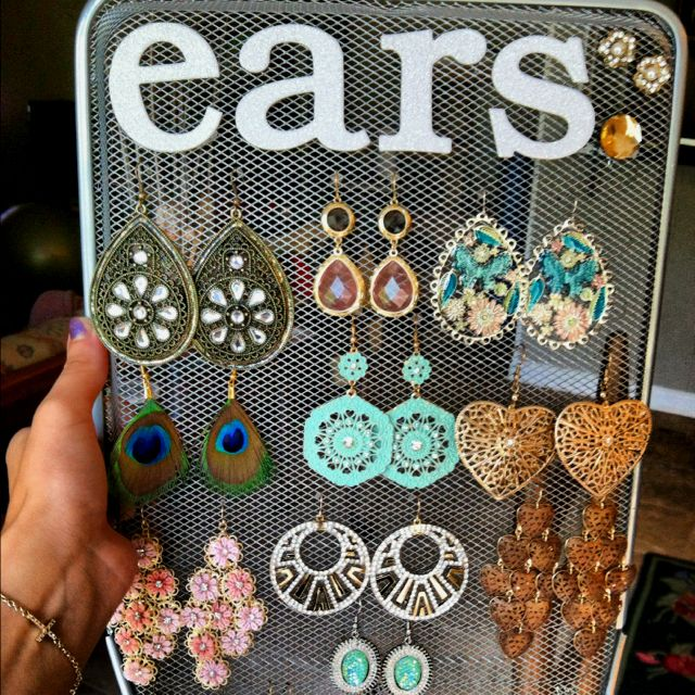 For earrings... I just picked up a paper rack from the dollar store and glittery letters from Michaels. Cheap!