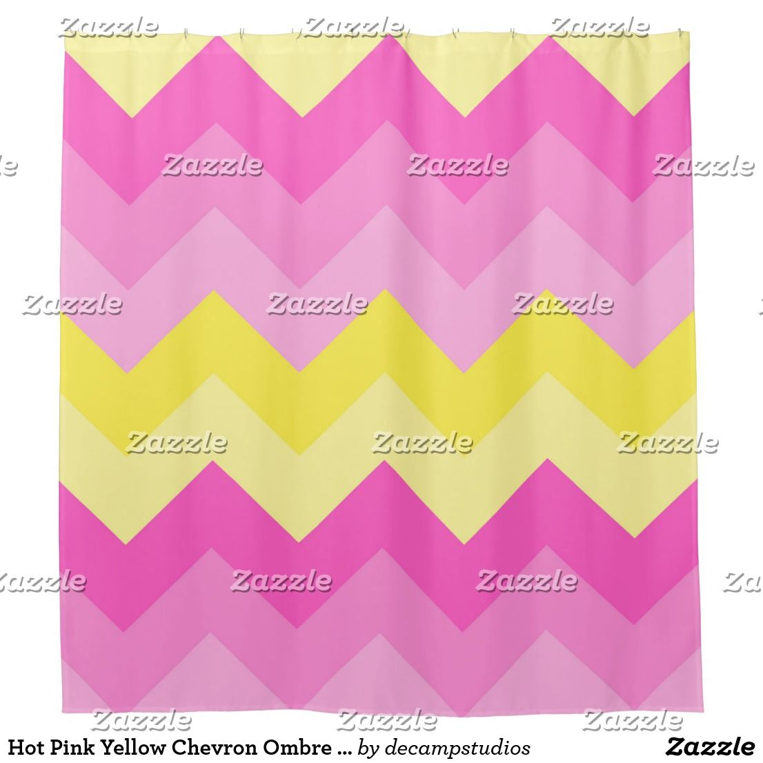 Hot pink curtains - Hot Pink Yellow Chevron Ombre Pattern Print Shower Curtain