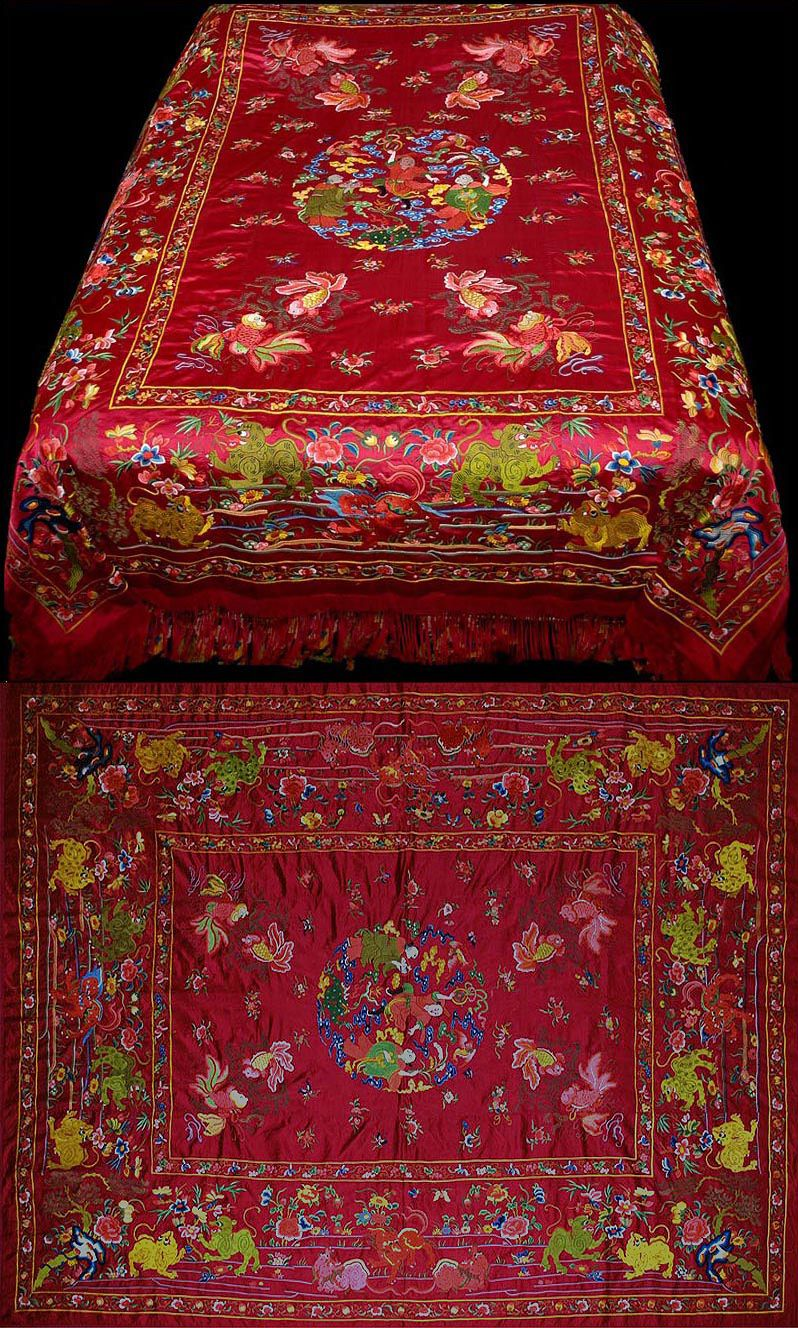Bettwäsche China Antique Chinese Imperial Embroidery Bed Cover 1800-1900 A ...