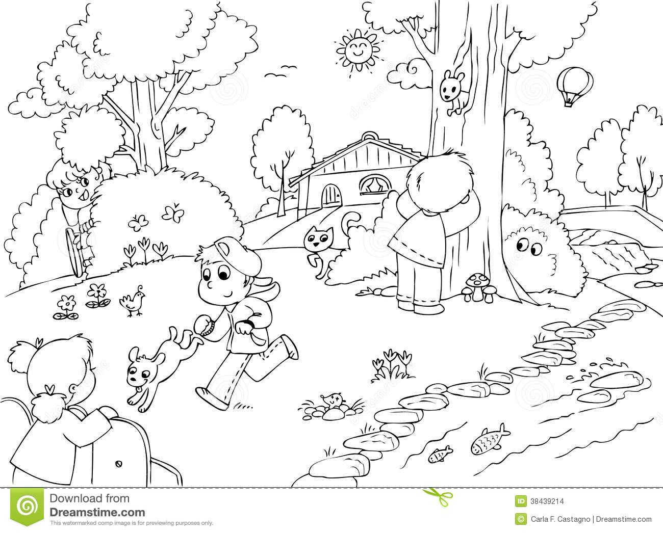 Children Playing In The Park Clipart Black And White