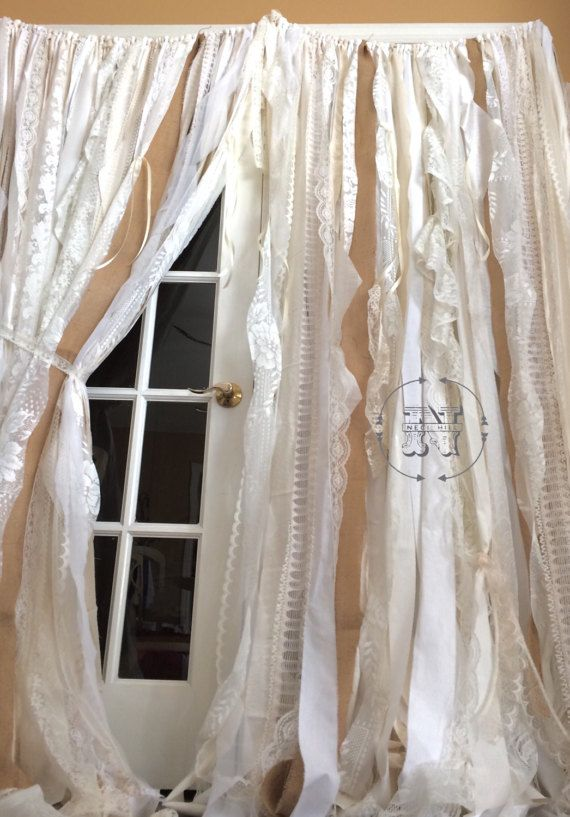 Burlap Lace Curtains Ribbon Curtain Rustic Rag Garland