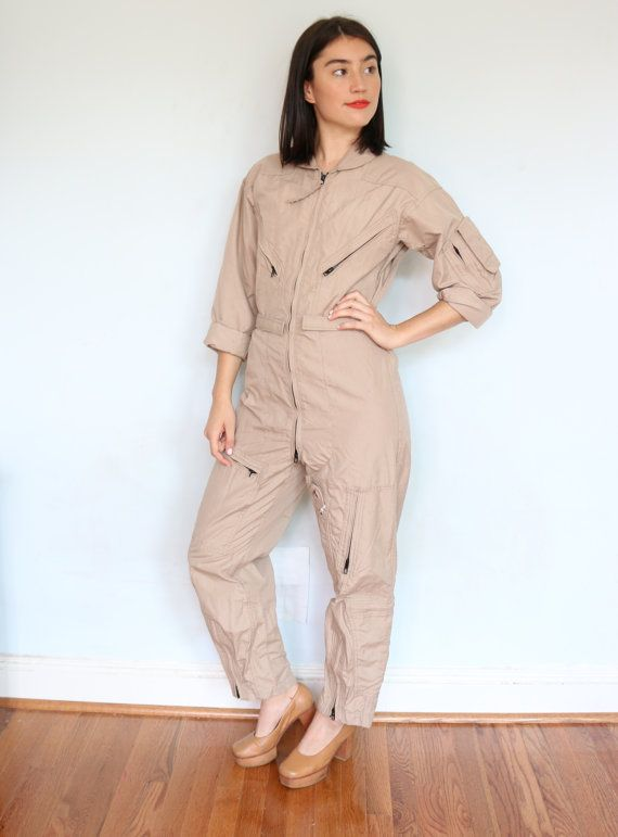 c64d1f79430 Vintage Khaki Flight Suit  Army Coveralls  Air by bottleofbread Smaller  Hips