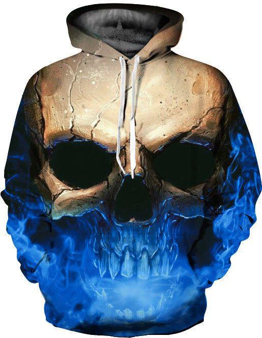 3f4bd7363831 Cool Flame Poker Skull 3D Print Women Men Hoodie Sweatshirt Pullover Jumper  Coat. Unisex Galaxy Animal Graphic 3D Print Long Sleeve ...