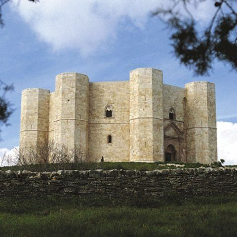 """Castel del Monte lies in Apulia, Puglia. In 1996 Castel del Monte was named a World Heritage Site by UNESCO as """"a unique masterpiece of medieval military architecture""""."""