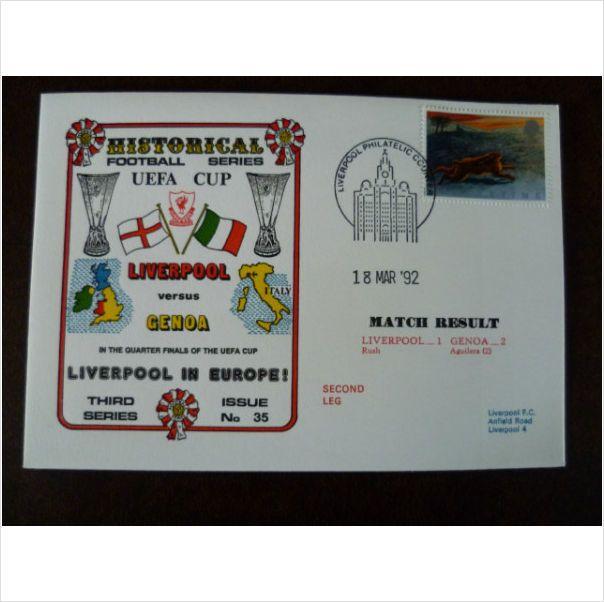 1992 Liverpool v Genoa Dawn Historical Football Cover 35 UEFA Cup Rush stamp on eBid United Kingdom