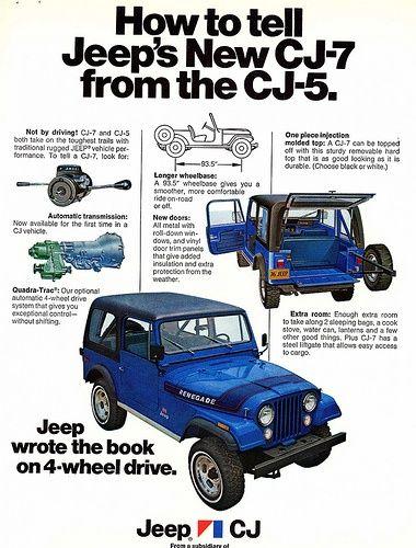 Jeep Auto 1976 Jeep Cj7 Vs Cj5 Identification Ad With Images Jeep Cj Jeep Cj7 Vintage Jeep