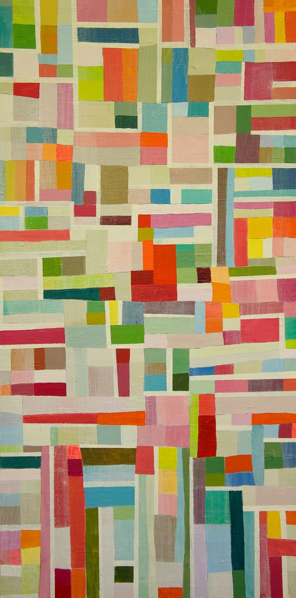 Georgia Gray - Small Grid 1 2011 20cm x 40cm acrylic on canvas $550 - could be a quilt - geometric - irregular strips of solid fabric offset with white