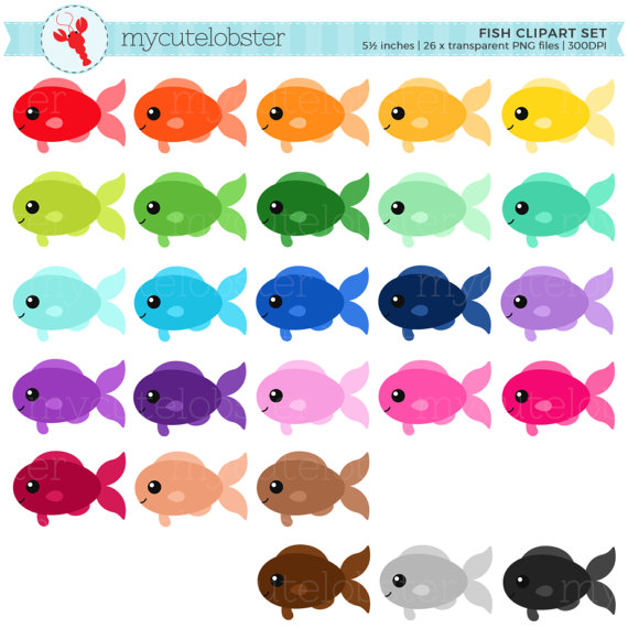 Rainbow Fish Clipart Set Clip Art Set Of Fish Cute Fish Happy Fish Rainbow Personal Use Small Commercial Use Instant Download Fish Clipart Clip Art Cute Fish