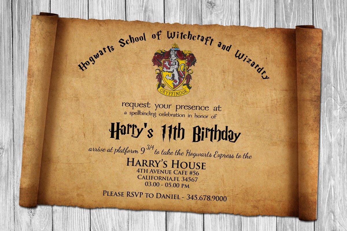 Image Result For Harry Potter Birthday Invitations