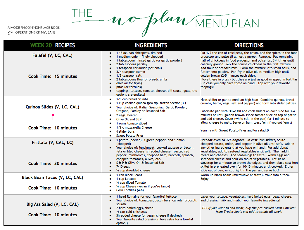 The No Plan Menu Plan  Vegetarian Meal Plan  Vegetarian Menu