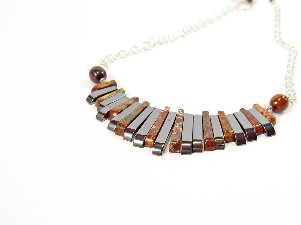 Fan Necklace, Egyptian Style, Statement Necklace, Jasper Jewellery, Sterling Silver. $100.00.