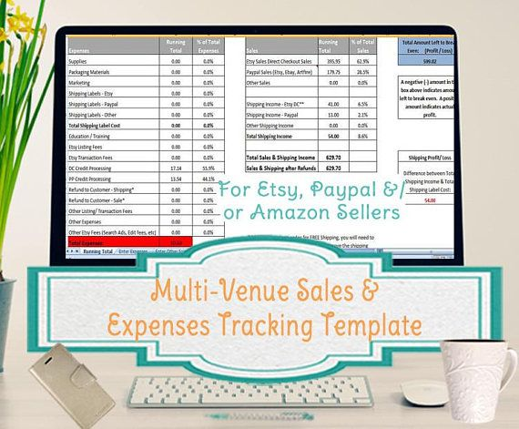Multi-Venue Sales and Expenses Spreadsheet, Summarizes Etsy  Paypal - sales spreadsheet
