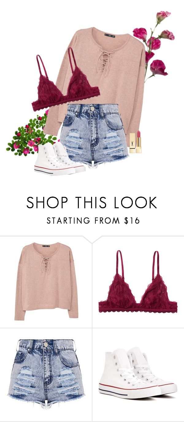 """""""money on me"""" by petalprada ❤ liked on Polyvore featuring MANGO, Monki, Converse and Yves Saint Laurent"""