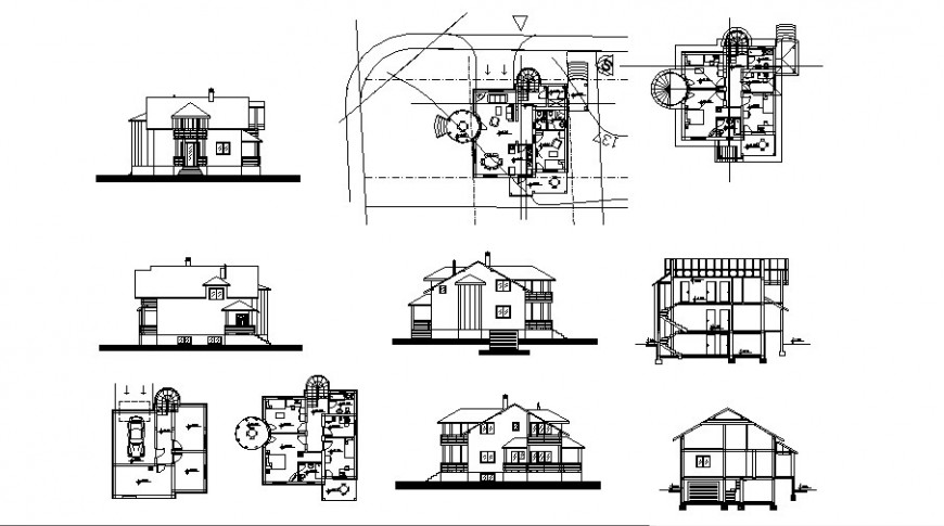 Bungalow Floor Plan And Section Elevation Drawing In Dwg File House Sketch Plan Floor Plans Bungalow Floor Plans