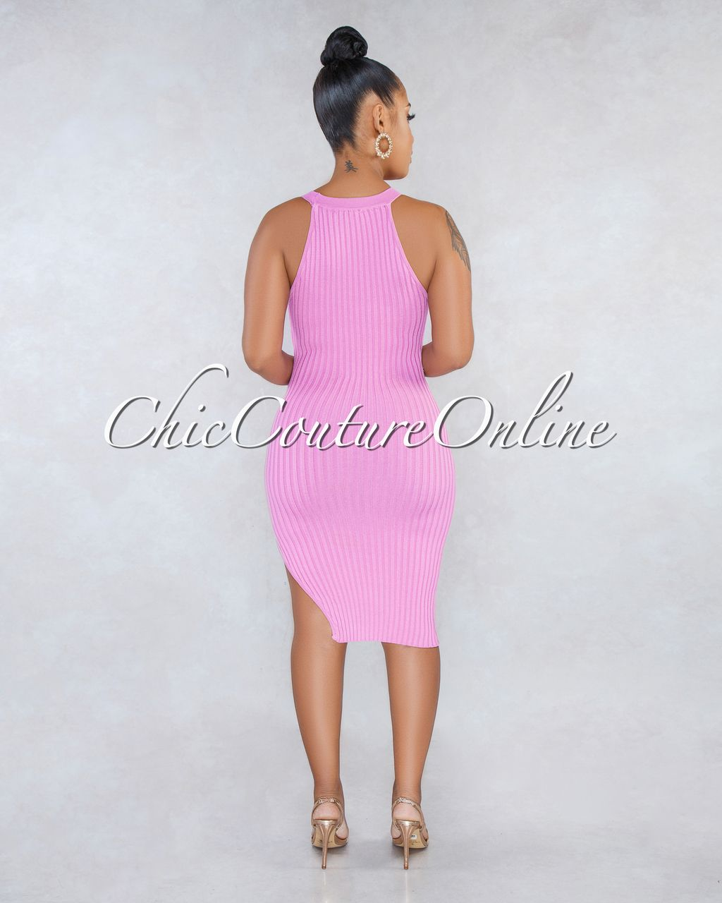 75dc8a779a3 Chic Couture Online - Talia Dusty Pink Racer Leg Slit Ribbed Dress