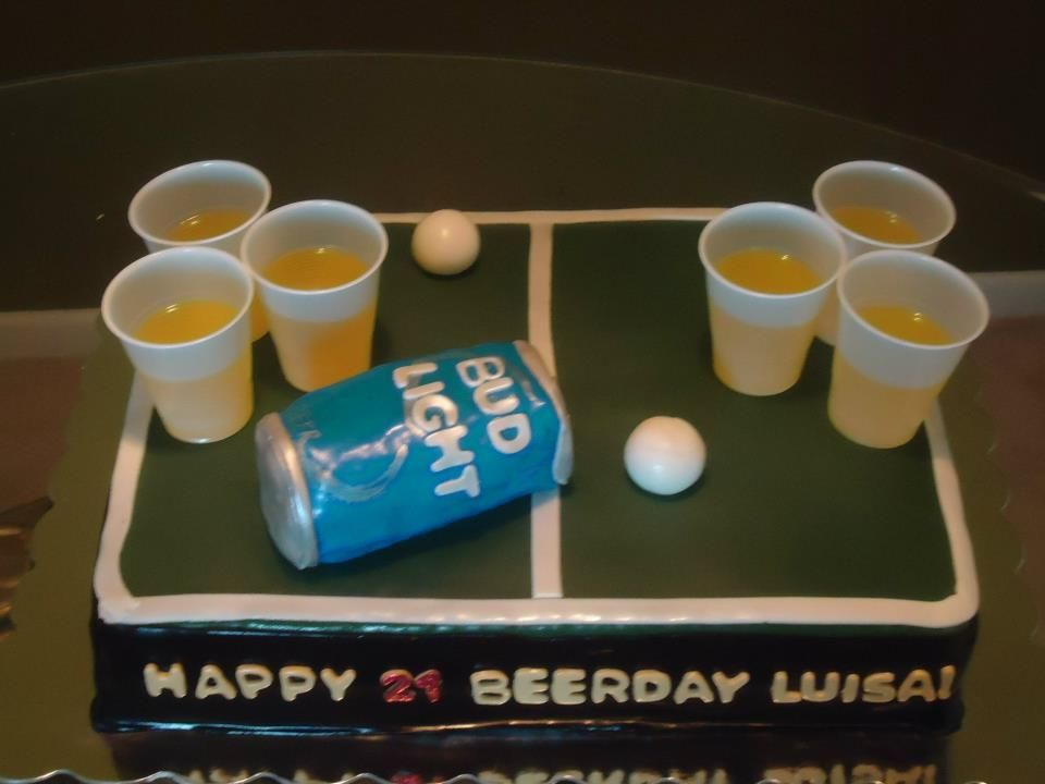 Beer pong cupcakes with jello shots
