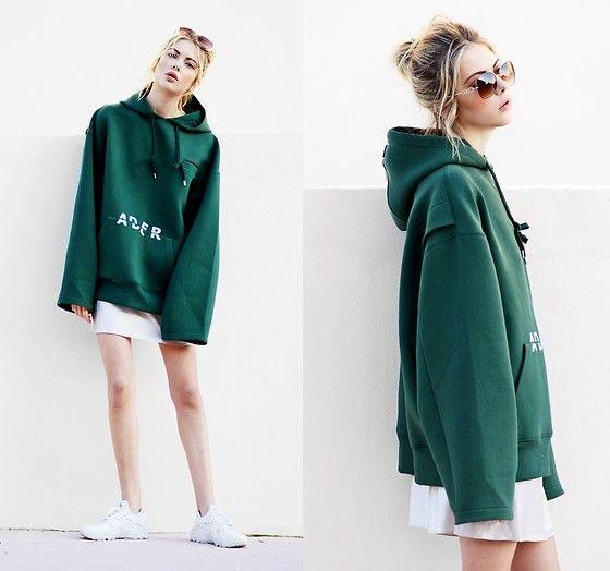 Get this look: http://lb.nu/look/8550505  More looks by Ebba Zingmark: http://lb.nu/ebbaz  Items in this look:  Ader Error Hoodie, Zero Uv Sunnies, Nike Sneakers, Junkyard Klänning   #casual #sporty #street