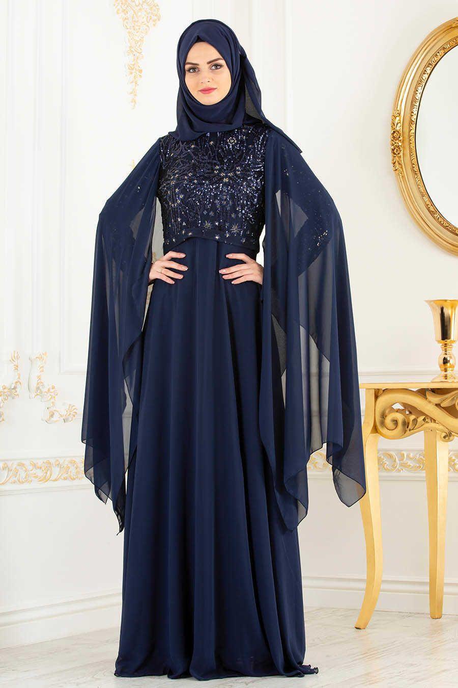 Neva style navy blue hijab evening dress l evening dress