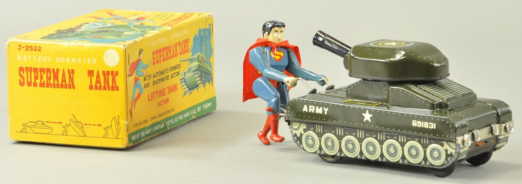 This Lithographed Tin Army Tank With Superman Figure And Original Box Dates To 1958 And Was Made In Japan The Fig Vintage Toys Toy Collection Superman Figure