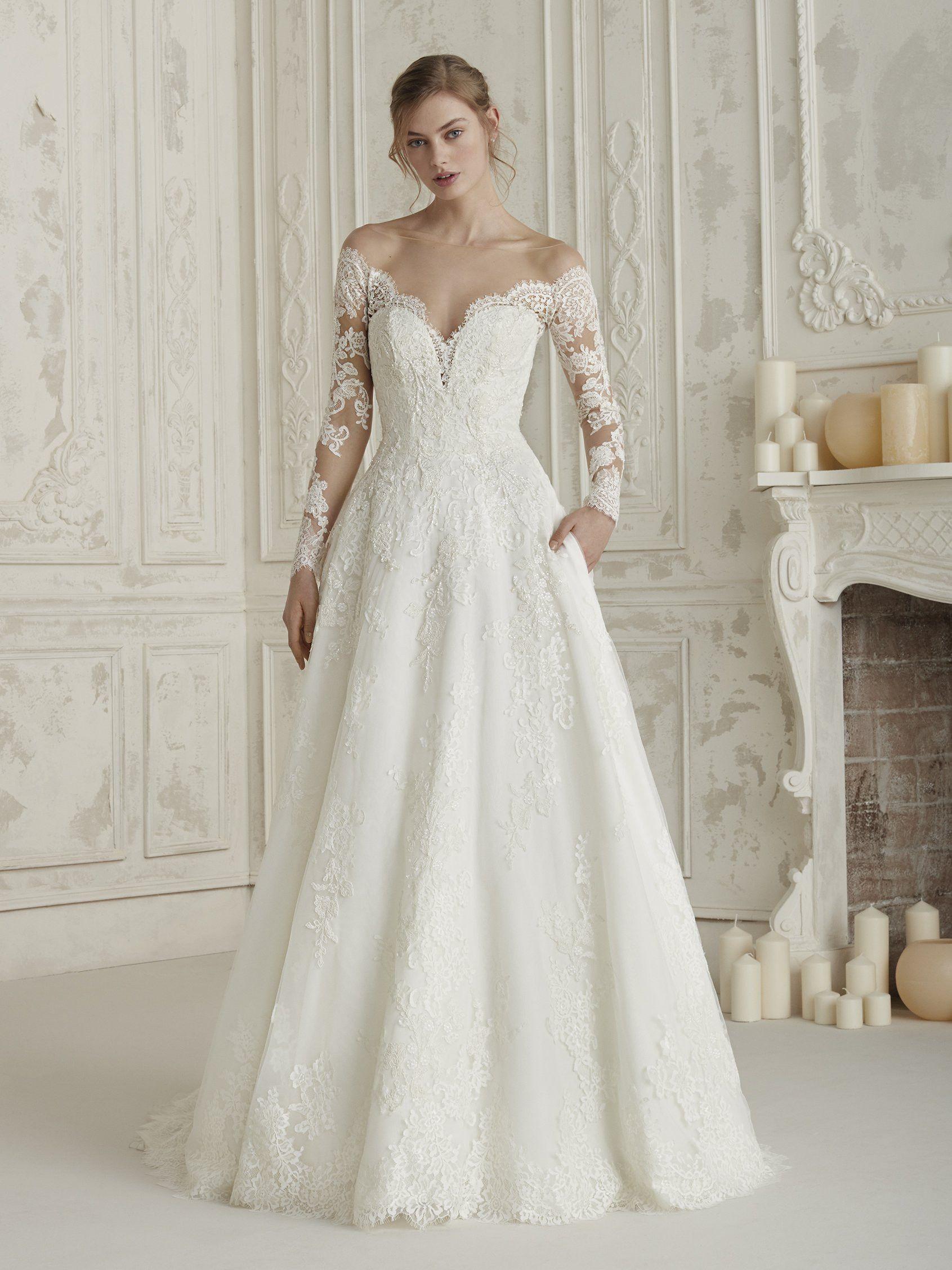Try On Pronovias Dresses At Elegance By Roya Bridal Boutique Tysons Corner Va For More Information Bridal Dresses Wedding Dress Long Sleeve Wedding Dresses