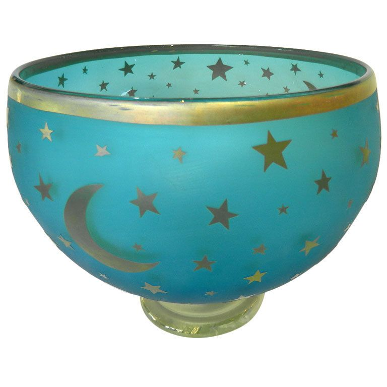 Decorative Colored Glass Bowls Moon And Stars Gilt Decor Glass Bowl Murano Signed  Star