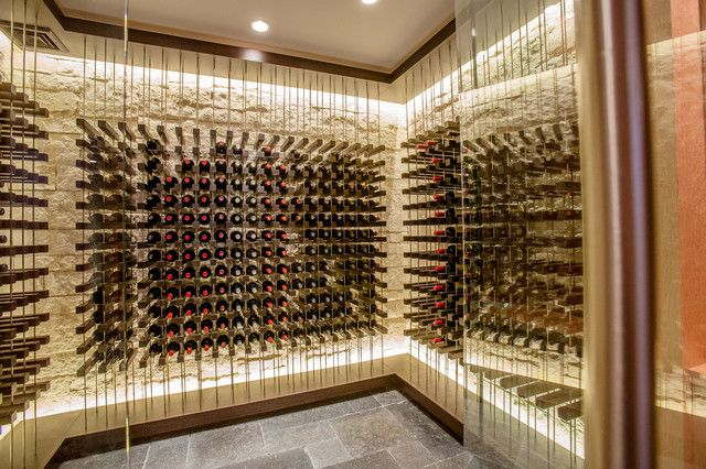 Inside A Bay Harbor Michigan Glass Enclosed Wine Cellar With