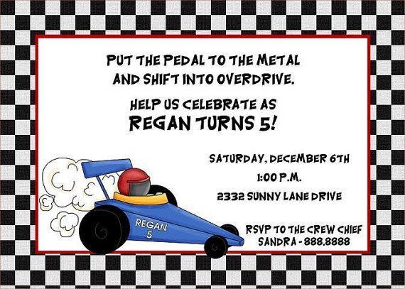 Race Car Go Kart Birthday Invitations Birthdays Car themes and