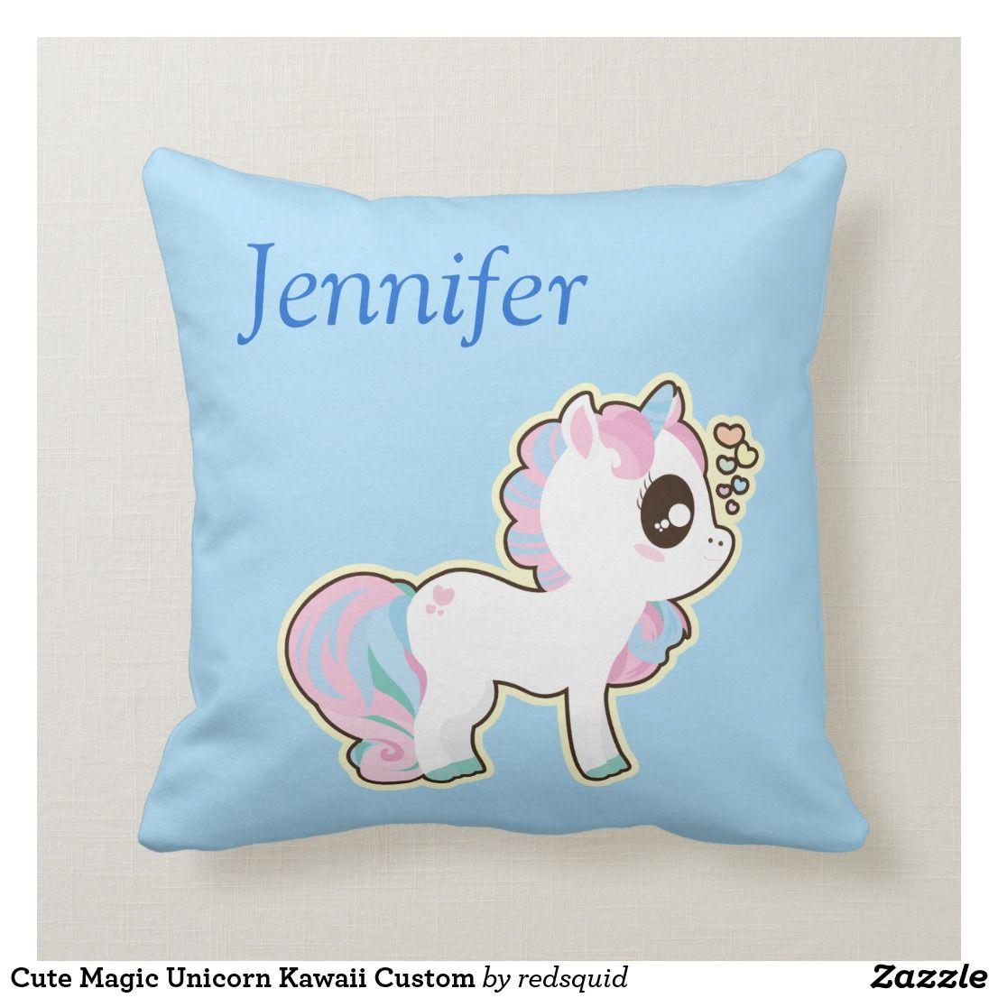 Cute magic unicorn kawaii custom throw pillow with images