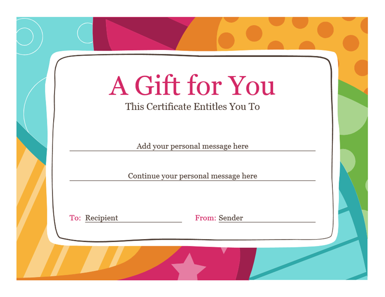 Delightful Birthday Gift Certificate Template Word 2010   Free Certificate Templates  In Gift Certificates Category  Printable Gift Certificates Templates Free