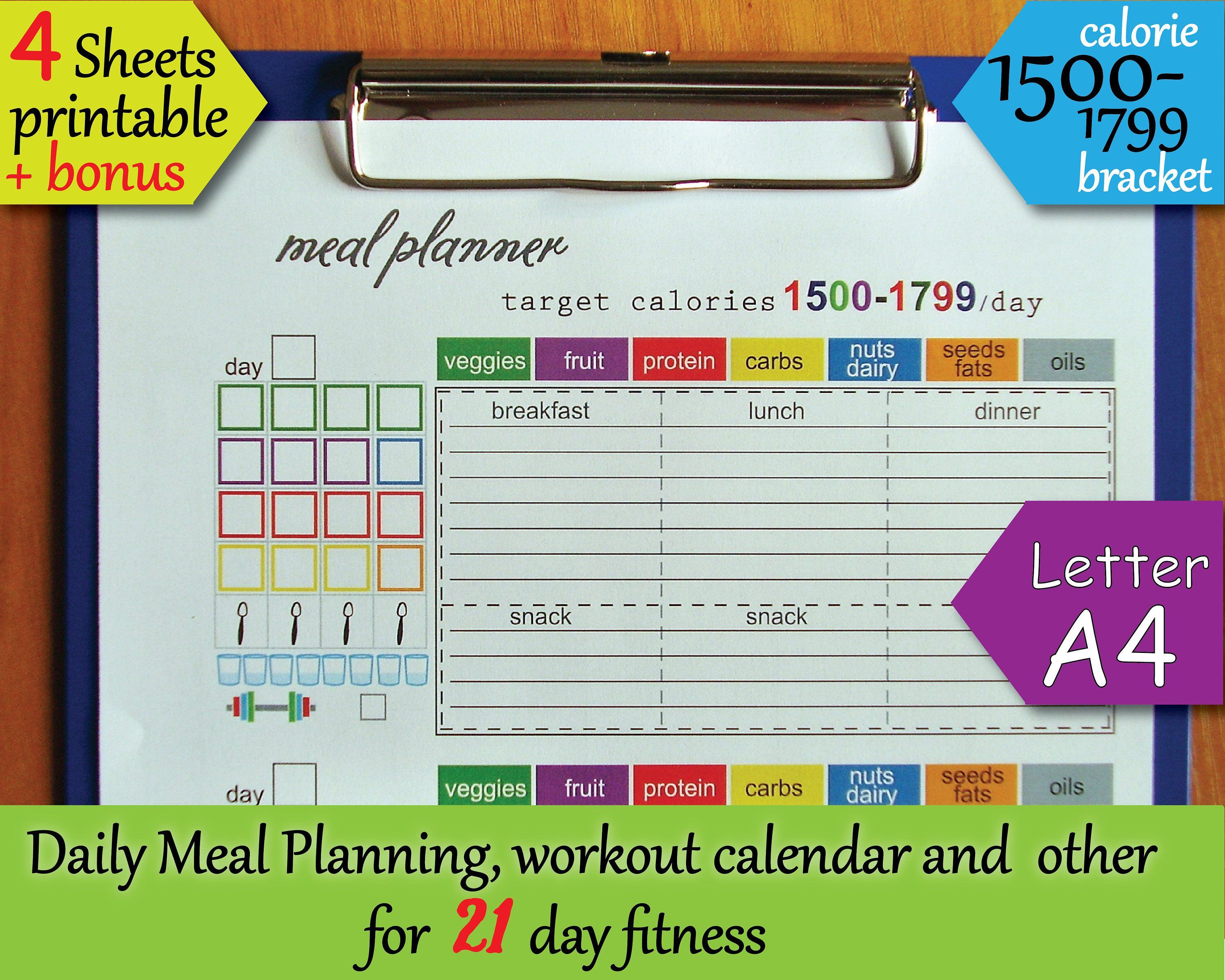 21 day fitness printables tracking sheet 1500 calorie bracket meal