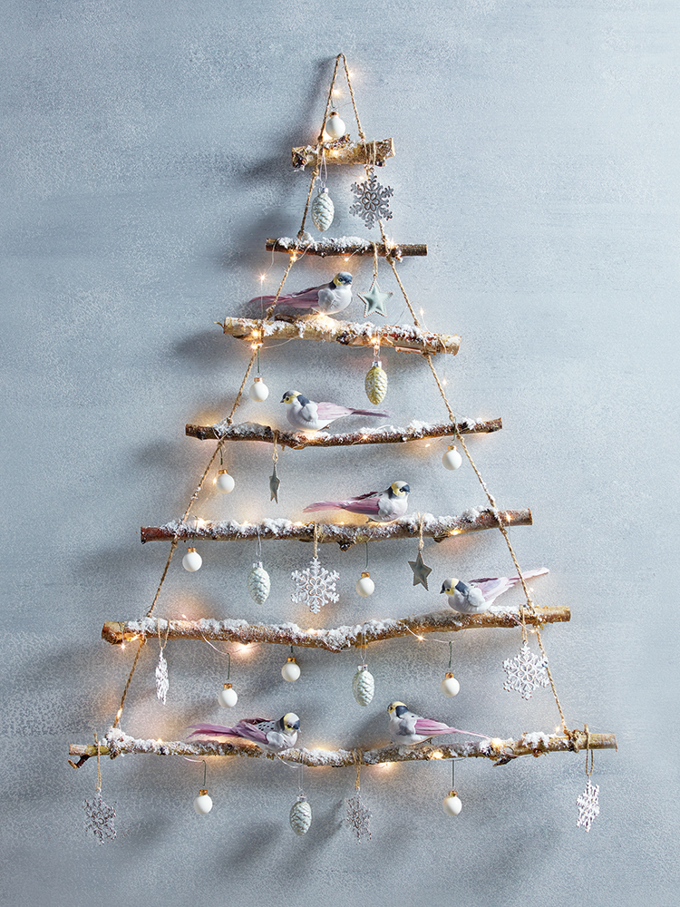 3FT White Hanging Wall Christmas Tree Classic White Tinsel Tree Hangs on Wall